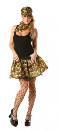 Army tu tu set: tu tu, neckerchief and hat costume