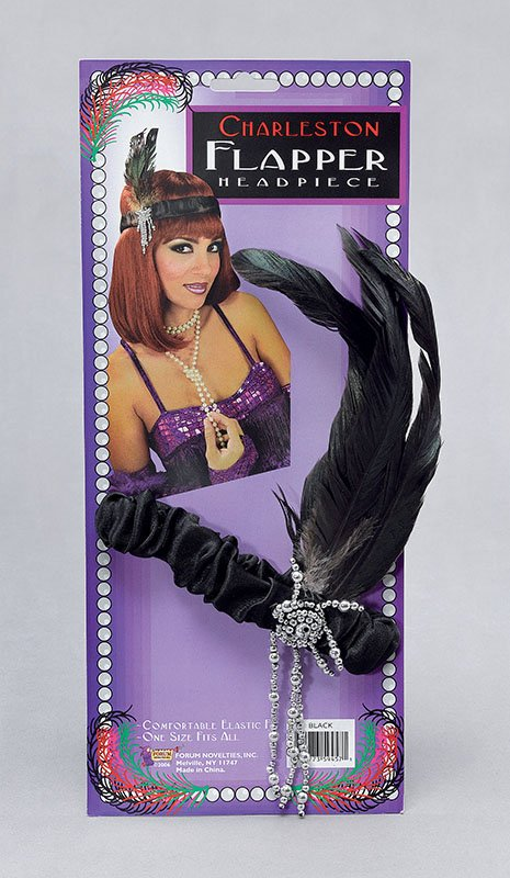 20s black flapper headband BA886