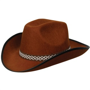 Brown felt cowboy hat AC-9105