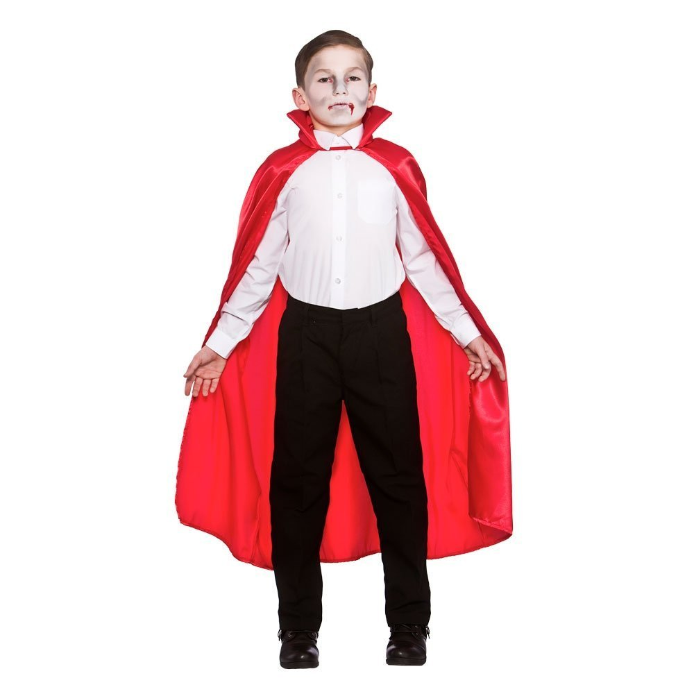 Child red satin cape with collar (wicked egb4098)