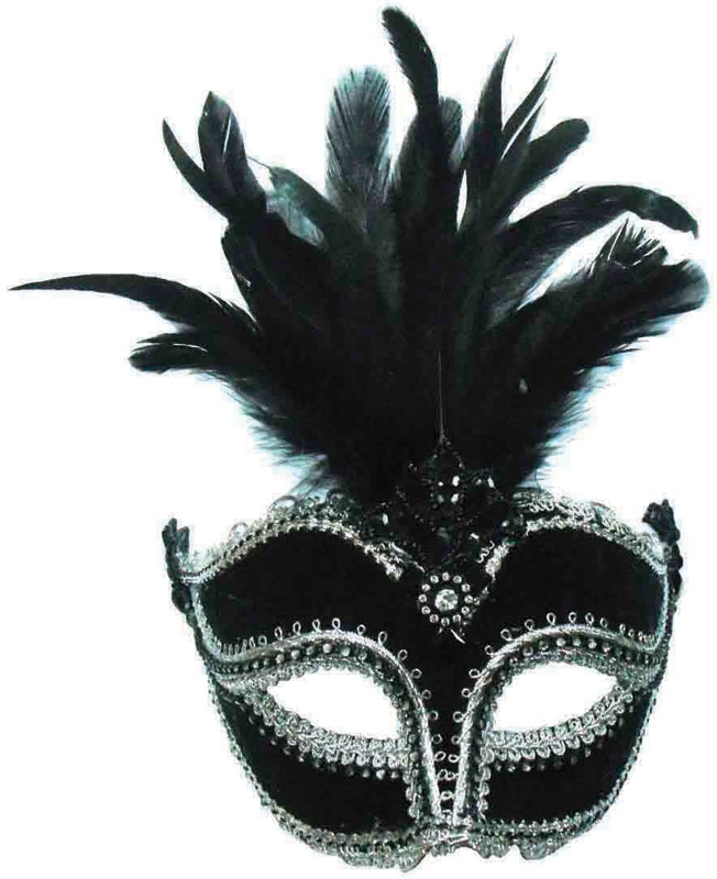 Black velour eye mask with centre feathers EM392