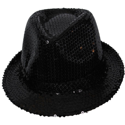 Black sequin fedora hat AC-9117