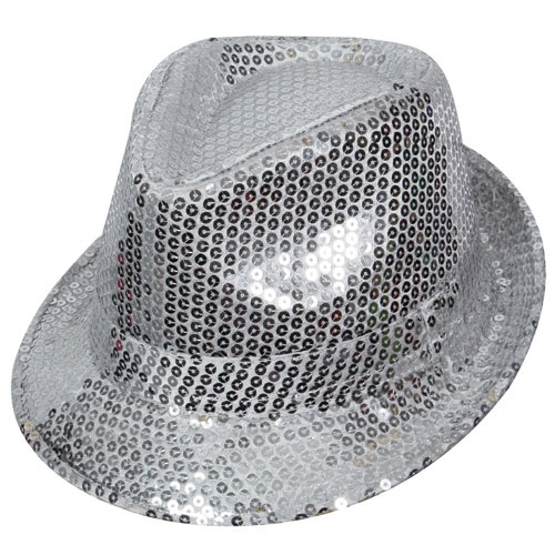 Silver sequin fedora hat AC-9116