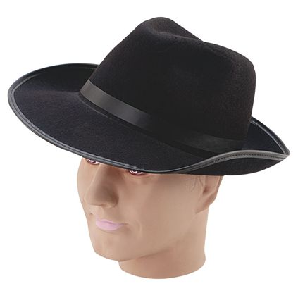 39ea8406ca7 Black felt gangster hat BH243