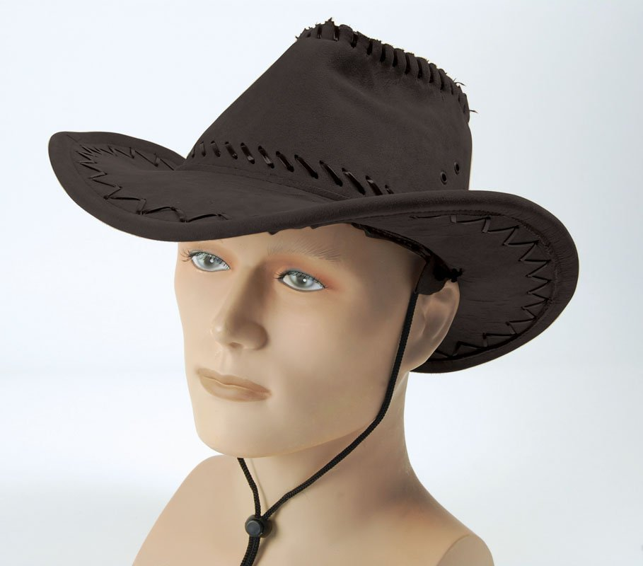 Leather brown cowboy hat with stitching BH438
