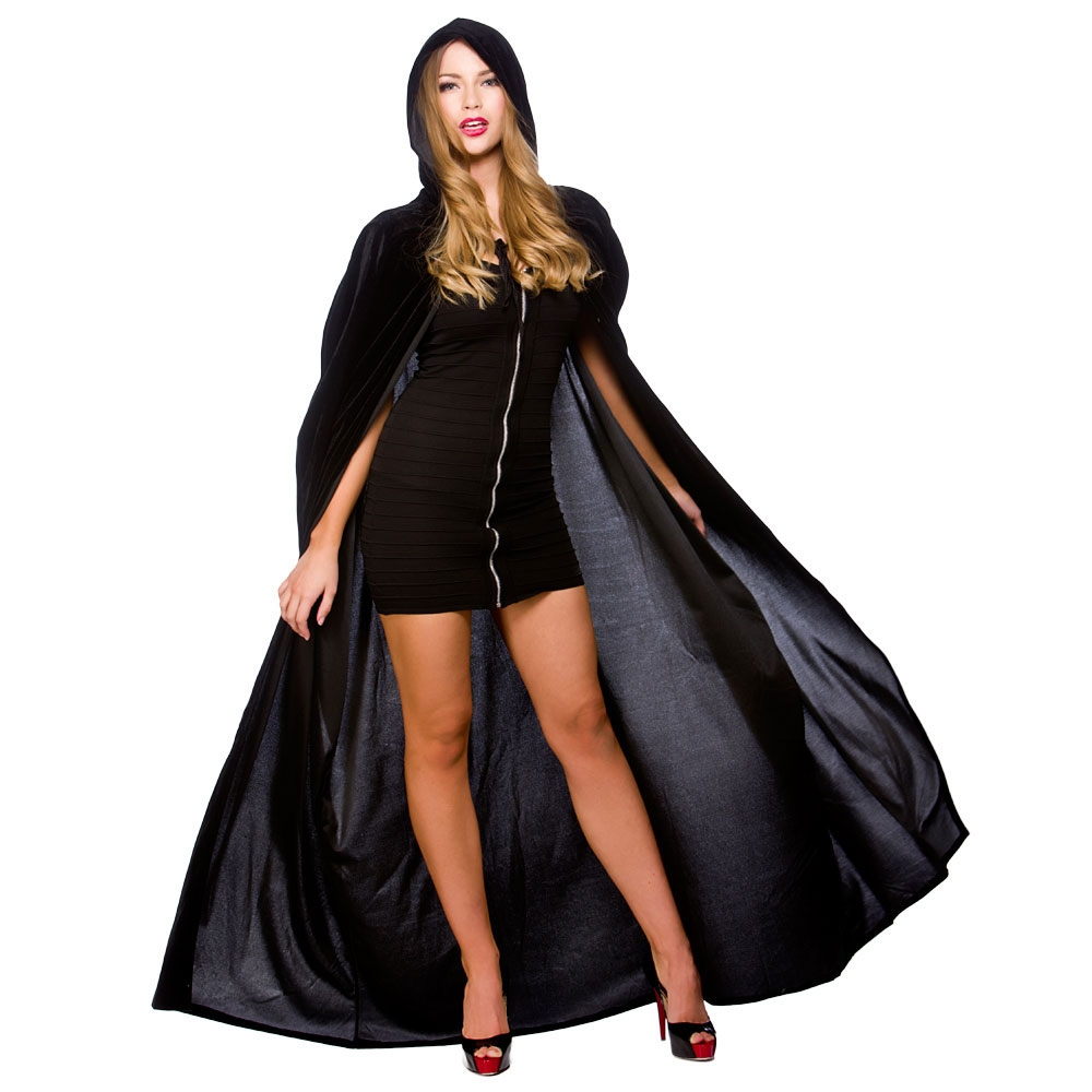 Black hooded velour cape hf5004