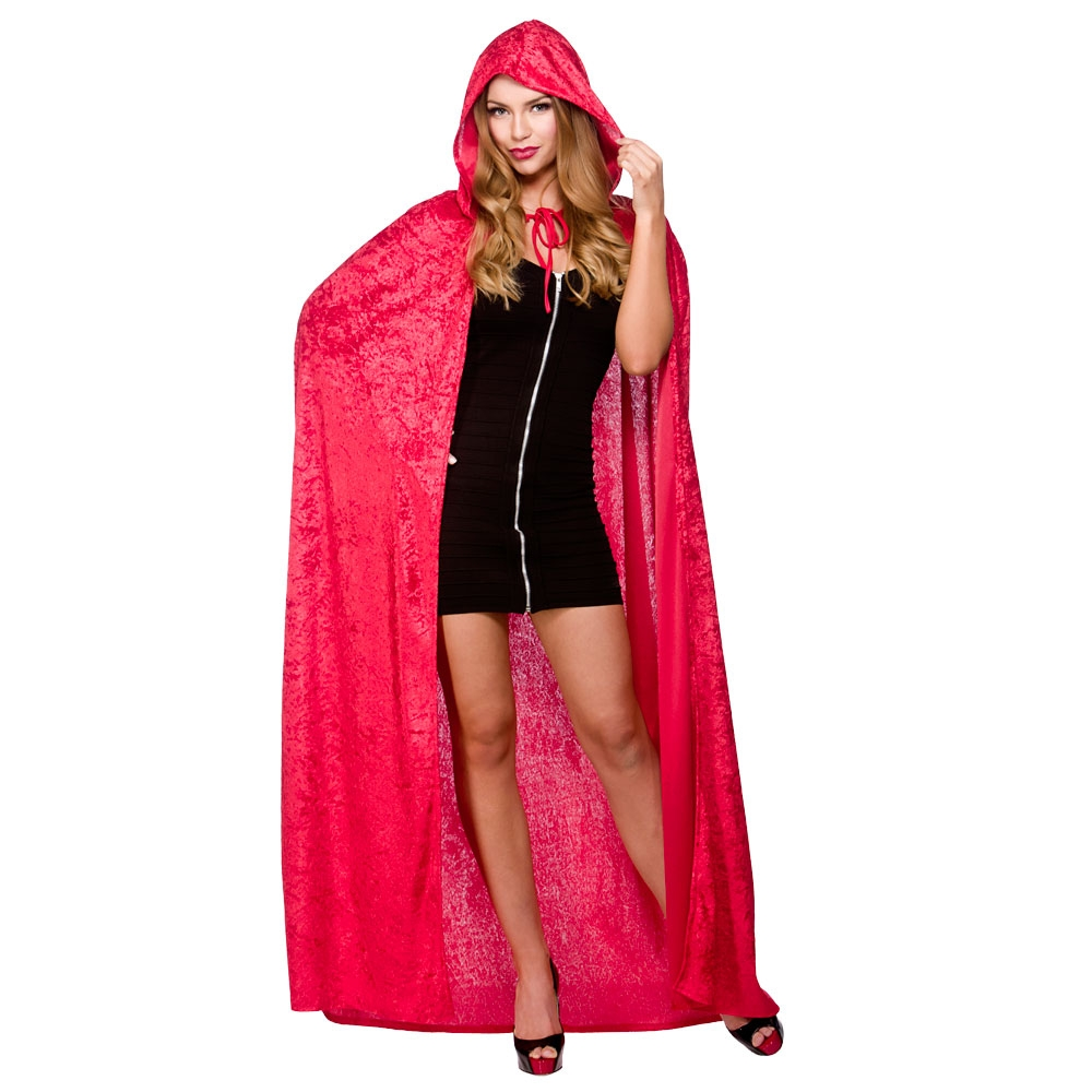 Adult red hooded velour cape hf5093