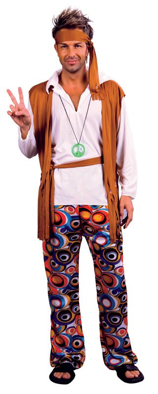 Hippy man brown with patterned shirt AC591