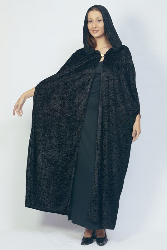 Black hooded cloak velour AC313/
