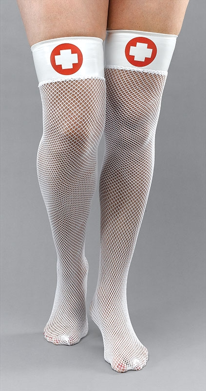 Nurse fishnet stockings BA814