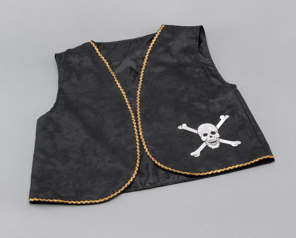 Pirate waistcoat black distressed BA021