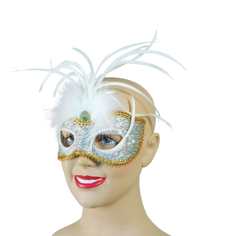 Multi lurex eyemask with white feathers SEM087