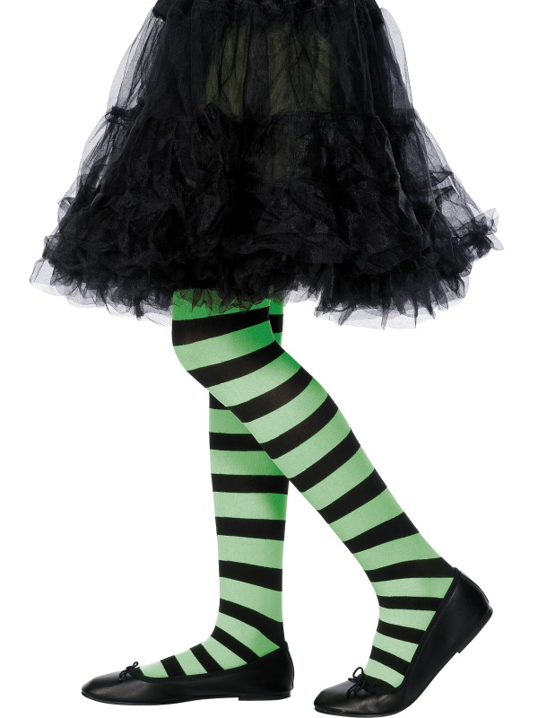 Tights Green and Black Striped ef-22080 6-12yrs