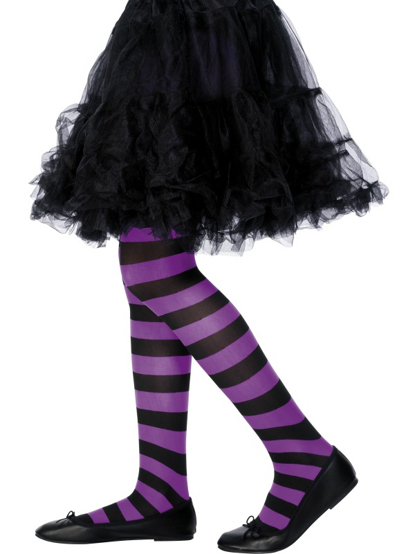 Tights Purple and Black Striped ef-22081 kids 6-12