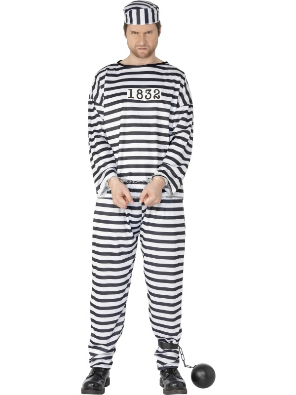 Convict Costume  adult  ef-96318L (smiffys)