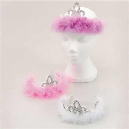 Silver tiara with marabue fur BA470