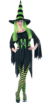 Adult green black striped tights